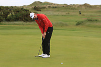 Adam Smith (Mullingar) on the 1st green during Round 2 of The East of Ireland Amateur Open Championship in Co. Louth Golf Club, Baltray on Sunday 2nd June 2019.<br /> <br /> Picture:  Thos Caffrey / www.golffile.ie<br /> <br /> All photos usage must carry mandatory copyright credit (© Golffile   Thos Caffrey)