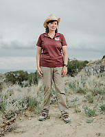 Co-chief scientist Victoria Egerton at the Jurassic Mile dinosaur dig site in the Big Horn Basin in Wyoming, June 29 - July 2, 2019. The dig is led by Phillip L. Manning, a paleontologist at the University of Manchester in England.<br />  <br /> Photo by Matt Nager