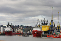 Pilot Ship Sea Shepherd surrounded by Oil Supply ships in Aberdeen Harbour.