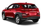 Car pictures of rear three quarter view of 2019 Hyundai Kona-EV Ultimate 5 Door SUV Angular Rear