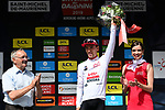 Bjorg Lambrecht (BEL) Lotto-Soudal takes over the young riders White Jersey at the end of Stage 6 of the Criterium du Dauphine 2019, running 229km from Saint-Vulbas - Plaine de l'Ain to Saint-Michel-de-Maurienne, France. 14th June 2019.<br /> Picture: ASO/Alex Broadway | Cyclefile<br /> All photos usage must carry mandatory copyright credit (© Cyclefile | ASO/Alex Broadway)