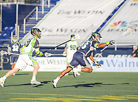 Annapolis, MD - July 7, 2018: Chesapeake Bayhawks Isaiah Davis-Allen (26) runs with the ball during the game between New York Lizards and Chesapeake Bayhawks at Navy-Marine Corps Memorial Stadium in Annapolis, MD.   (Photo by Elliott Brown/Media Images International)