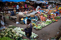 A vegetable market place in Bangalore, India.