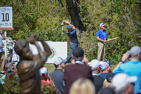 Rory McIlroy (NIR) watches his tee shot on 10 with a statue in the foreground during round 1 of the World Golf Championships, Dell Match Play, Austin Country Club, Austin, Texas. 3/21/2018.<br /> Picture: Golffile | Ken Murray<br /> <br /> <br /> All photo usage must carry mandatory copyright credit (&copy; Golffile | Ken Murray)
