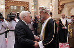 Palestinian President Mahmoud Abbas, offers condolences to the Sultan of Oman, Haitham bin Tariq Saeed, in the Gulf sultanate of Oman on January 12, 2020. Photo by Thaer Ganaim