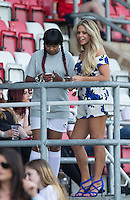 Bianca Gascoigne with Sandi Bogle from Gogglebox during the 'Greatest Show on Turf' Celebrity Event - Once in a Blue Moon Events at the London Borough of Barking and Dagenham Stadium, London, England on 8 May 2016. Photo by Andy Rowland.