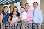 BAPTISED: On Sunday baby Kyle Flaherty Lixnaw  with his godparents and paents  after he  was baptised in St Michael's Church Lixnaw, L-r: Sandra O'Flaherty (godmother), Kara O'Flaherty, Kyle O'Flaherty, Kieran and Ryan O'Flaherty and Brendan O'Flaherty (godfather). and afterward to Ballyroe Heights Hotel, Tralee for lunch.