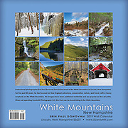 Back cover of the 2019 White Mountains, New Hampshire wall calendar by ScenicNH Photography LLC | Erin Paul Donovan. Copies of this scenic New Hampshire calendar can be purchased here: http://bit.ly/2GPQ9q3