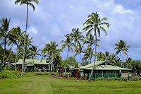 Hotel Hana's rustic cottages.  Located in the town of Hana on the eastern shore of Maui.