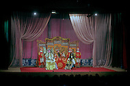 April 15th, 1989, Poyang, Jiangxi Province, China. Traveling opera troupe performing. Roles in Chinese opera are highly codified. All performers take care of their own make up, clothes and props.