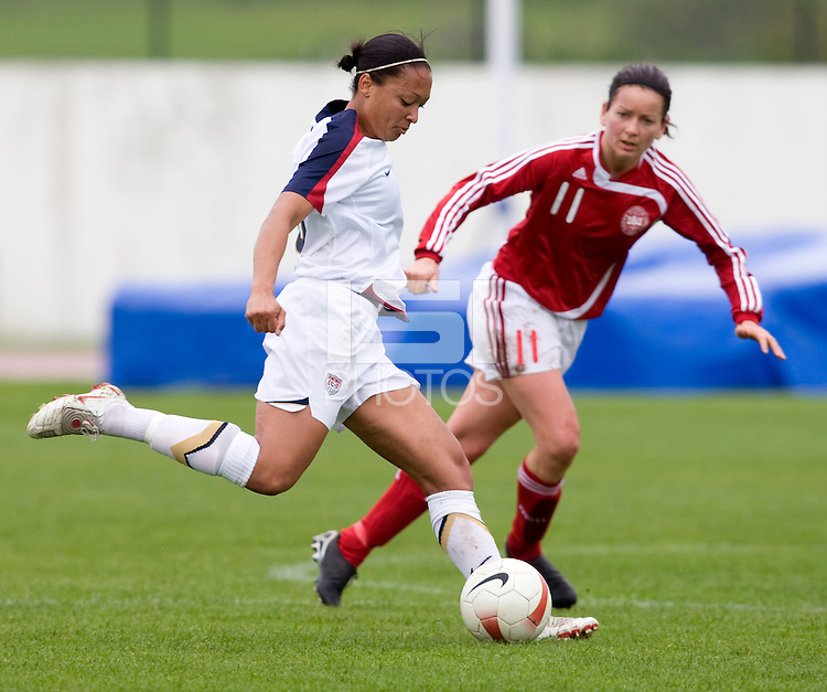 Angela Hucles, Merete Pedersen. The USWNT defeated Denmark, 2-0, in Lagos, Portugal during the Algarve Cup.