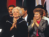 First lady Barbara Bush, left, and Raisa Gorbachev, wife of President Mikhail Gorbachev of the Soviet Union, right, attend the graduation ceremony at Wellesley College in Wellesley, Massachusetts on June 1, 1990. <br /> Credit: Rick Friedman / Pool via CNP