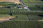 Apple and cherry orchards in the Bray's Landing area near Orondo, WA.  Aerial view.  white fabric is for protecting cherries from rain
