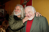 Sculptor Armand Vaillancourt (L) and Raymond Levesque (R)<br /> at  the Launch of  Marie Marine album. April 25 2006 at Divan Orange in Montreal.<br /> <br /> Marie Marine is the daughter of French Canadian singer Raymond Levesque.<br /> <br /> photo : Roussel  - Images Distribution