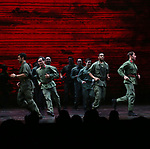 "Male ensemble cast members during The Opening Night Curtain Call Bows for the New Broadway Production of ""Miss Saigon"" at the Broadway Theatre on March 23, 2017 in New York City"