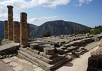 DELPHI, GREECE - APRIL 12 : A general view of the Temple of Apollo from the north-east with the Mount Parnassus in the background, on April 12, 2007 in the Sanctuary of Apollo, Delphi, Greece. The ruins of the Temple of Apollo belong to the 4th century BC, the third temple built on the site, still in the Doric order and completed in 330BC. Its architects were the Corinthians Spintharos Xenodoros and Agathon. (Photo by Manuel Cohen)