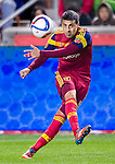 Real Salt Lake defender Tony Beltran (2) passes the ball against Philadelphia Union  in the second half Saturday, March 14, 2015, during the Major League Soccer game at Rio Tiinto Stadium in Sandy, Utah. (© 2015 Douglas C. Pizac)