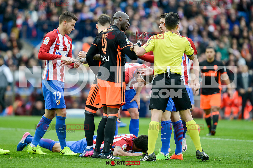 Atletico de Madrid's Lucas Hernández, Filipe Luis and Stefan Savic and Valencia CF's Eliaquim Mangala during La Liga match between Atletico de Madrid and Valencia CF at Vicente Calderon Stadium  in Madrid, Spain. March 05, 2017. (ALTERPHOTOS/BorjaB.Hojas) /NortePhoto.com