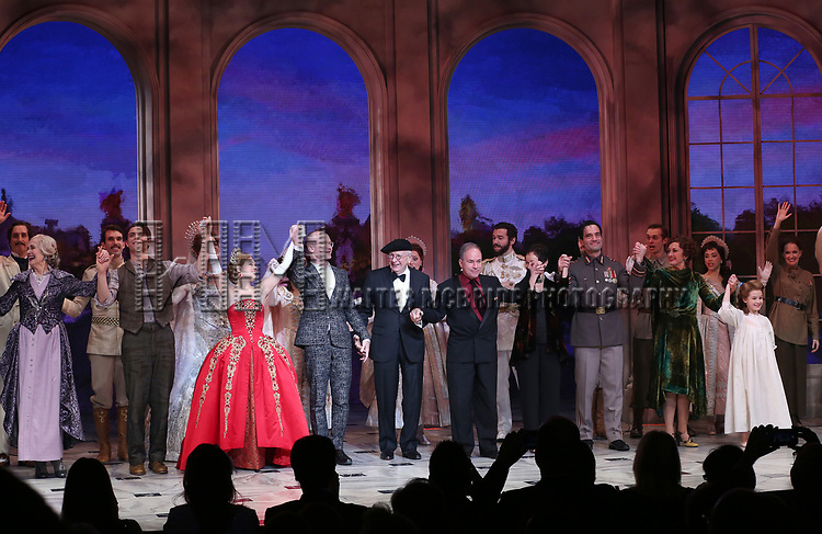 Mary Beth Peil, Derek Klena, Christy Altomare, Darko Trensnjak, Terrence McNally, Stephen Flaherty, Lynn Ahrens, Ramin Karimloo, Caroline O'Connor and Nicole Scimeca during Broadway Opening Night Performance Curtain Call bows for 'Anastasia' at the Broadhurst Theatre on April 24, 2017 in New York City.