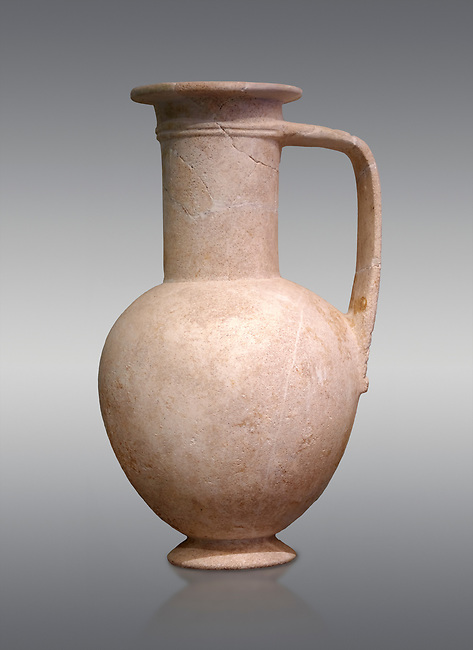 "Minoan stone ewer jug from the  Knossos-Isopata ""Royal Tomb"" 1600-1500 BC BC, Heraklion Archaeological  Museum, grey background."