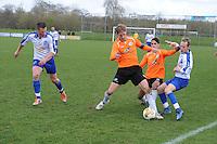 "VOETBAL: BALK: Voetbalcomplex ""de Wilgen"", 27-04-2013, KNVB 1ste Klasse E district Noord, VV Balk -VV Drachtster Boys, Einduitslag 1-2, Johan Geertsma (#11 | Balk), Willem den Hartogh (#16 | DB), Aziz Geyik (#18 | DB), Wibo Jorritsma (#8 | Balk), ©foto Martin de Jong"