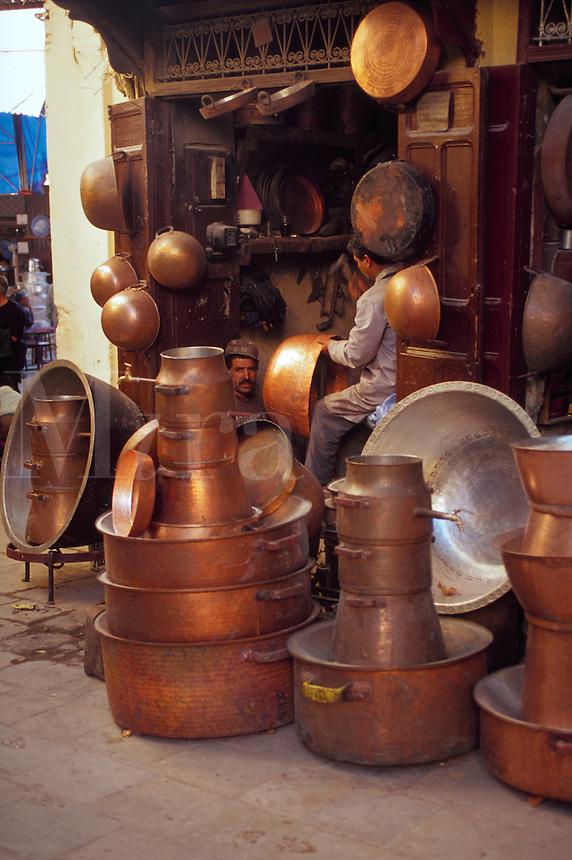 Copper pots in Souk, Morocco