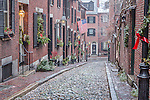 Christmas snow on Beacon Hill, Boston, Massachusetts, USA