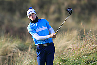 Sean Dowling (The Island) on the 12th tee during Round 3 of the Ulster Boys Championship at Portrush Golf Club, Valley Links, Portrush, Co. Antrim on Thursday 1st Nov 2018.<br /> Picture:  Thos Caffrey / www.golffile.ie<br /> <br /> All photo usage must carry mandatory copyright credit (&copy; Golffile | Thos Caffrey)