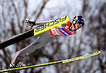 Thomas Morgenstern of Austria soars through the air during the FIS World Cup Ski Jumping in Sapporo, northern Japan in February, 2008.