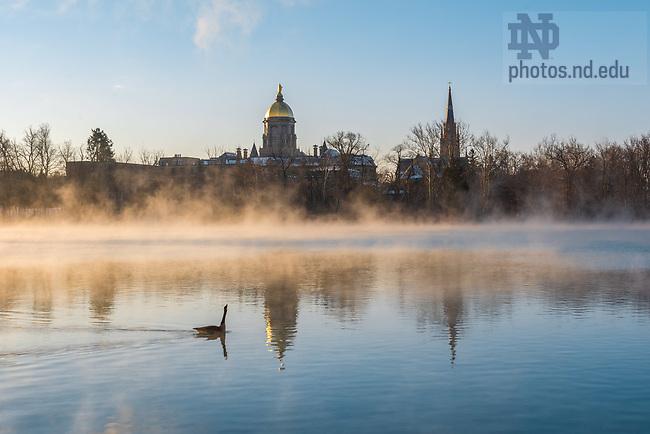 March 14, 2017; A goose glides by on St. Joseph Lake (Photo by Matt Cashore/University of Notre Dame)