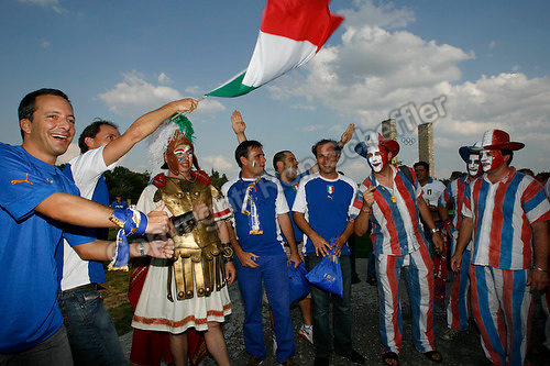Jul 9, 2006; Berlin, GERMANY; Italy and France supporters prior to the match between Italy and France in the final of the 2006 FIFA World Cup at the Olympiastadion, Berlin. Mandatory Credit: Ron Scheffler-US PRESSWIRE Copyright © Ron Scheffler