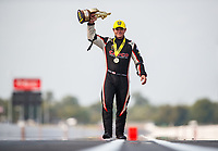 Sep 4, 2017; Clermont, IN, USA; NHRA top fuel driver Steve Torrence poses for a portrait as he celebrates after winning the US Nationals at Lucas Oil Raceway. Mandatory Credit: Mark J. Rebilas-USA TODAY Sports