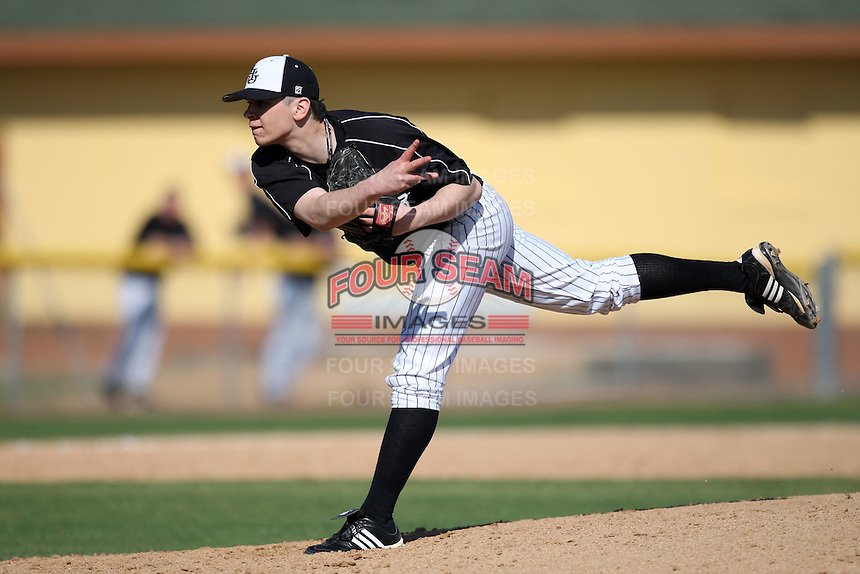 March 13, 2010:  Pitcher Chris Franzese (11) of Long Island University Blackbirds in a game vs. Army at Henley Field in Lakeland, FL.  Photo By Mike Janes/Four Seam Images