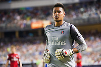 Paris Saint-Germain goalkeeper Alphonse Areola (16). Chelsea FC and Paris Saint-Germain played to a 1-1 tie during a 2012 Herbalife World Football Challenge match at Yankee Stadium in New York, NY, on July 22, 2012.