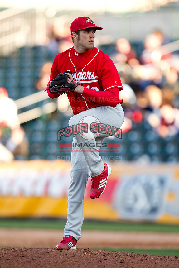 Brian Lorenz (13) of the Southern Illinois University- Edwardsville Cougars winds up during a game against the Missouri State Bears at Hammons Field on March 9, 2012 in Springfield, Missouri. (David Welker / Four Seam Images)