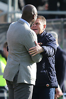 Southend United Manager, Sol Campbell and Dover Manager, Andy Hessenthaler embrace ahead of kick-off during Dover Athletic vs Southend United, Emirates FA Cup Football at the Crabble Athletic Ground on 10th November 2019