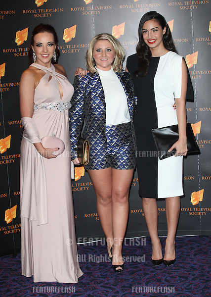 Stephanie Davis, Jazmine Franks and Anna Shaffer arriving for the RTS Awards 2013, at The Grosvenor House Hotel, London. 19/03/2013 Picture by: Alexandra Glen / Featureflash