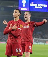 26th December 2019; King Power Stadium, Leicester, Midlands, England; English Premier League Football, Leicester City versus Liverpool; Trent Alexander Arnold of Liverpool stands with his arms crossed after scoring in the 78th minute 0-4 as Jordan Henderson of Liverpool stands behind him celebrating - Strictly Editorial Use Only. No use with unauthorized audio, video, data, fixture lists, club/league logos or 'live' services. Online in-match use limited to 120 images, no video emulation. No use in betting, games or single club/league/player publications
