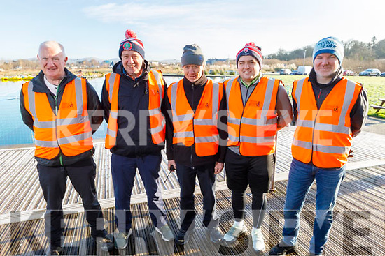 Willie O'Neill, Jimmy Mulligan, Mike Greaney, Padraig O'Sullivan and Trevor Galvin, all volunteers at the Operation Transformation for the National Walk Day in the Wetlands on Saturday.