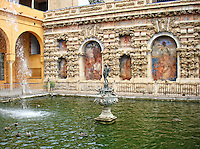 Mercury Fountain, Royal Gardens, Alcazar, Seville, Spain.