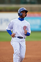 South Bend Cubs D.J. Artis (11) jogs to third base during a Midwest League game against the Cedar Rapids Kernels at Four Winds Field on May 8, 2019 in South Bend, Indiana. South Bend defeated Cedar Rapids 2-1. (Zachary Lucy/Four Seam Images)
