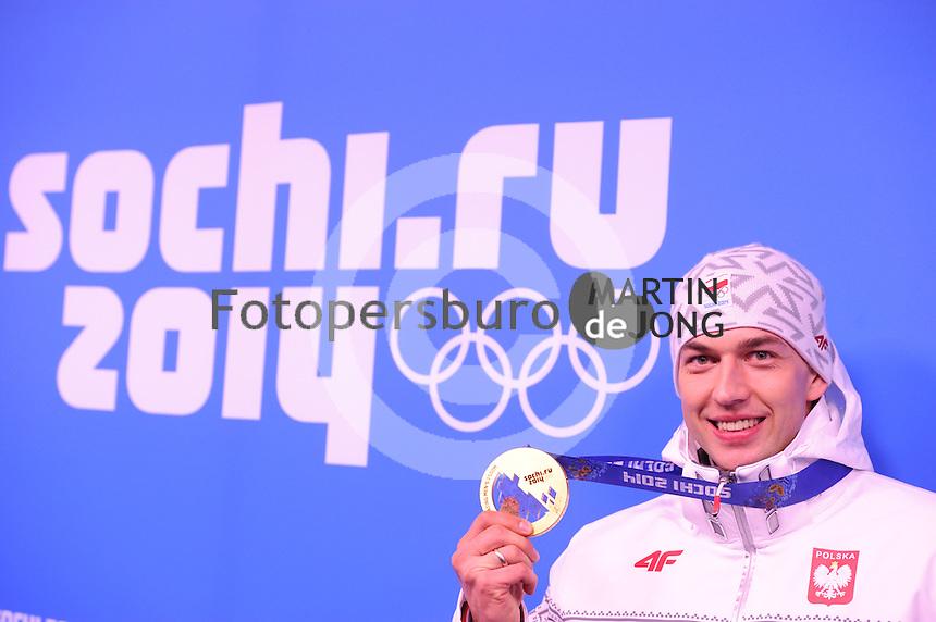 OLYMPICS: SOCHI: Medal Plaza, 16-02-2014, Men's 1500m, Zbigniew Brodka (POL), ©photo Martin de Jong