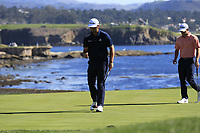 Jon Rahm (ESP) sinks his par putt on the 18th green at Pebble Beach course during Friday's Round 2 of the 2018 AT&amp;T Pebble Beach Pro-Am, held over 3 courses Pebble Beach, Spyglass Hill and Monterey, California, USA. 9th February 2018.<br /> Picture: Eoin Clarke | Golffile<br /> <br /> <br /> All photos usage must carry mandatory copyright credit (&copy; Golffile | Eoin Clarke)