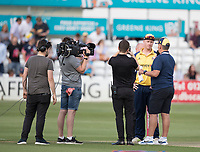 Simon Harmer of Essex CCC interviewed after the toss during Essex Eagles vs Somerset, Vitality Blast T20 Cricket at The Cloudfm County Ground on 7th August 2019