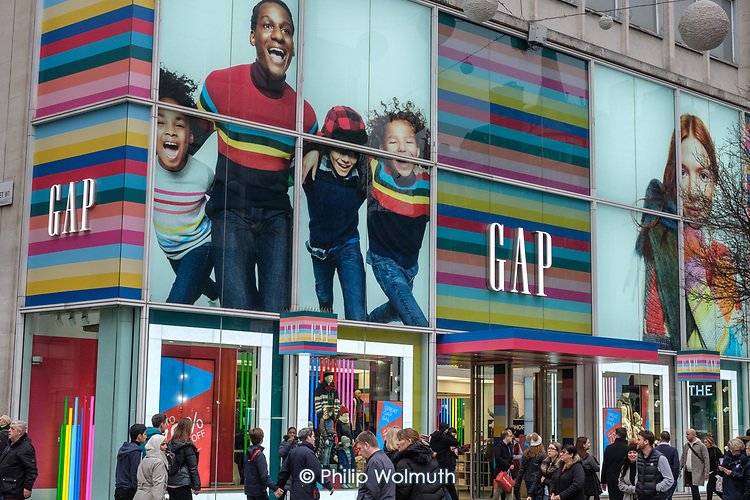 Gap Store.  End of year sales, Oxford Street, London.
