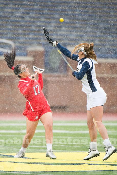 The University of Michigan women's lacrosse team falls to Ohio State, 10-9, at Michigan Stadium in Ann Arbor, MI on April 2, 2016.