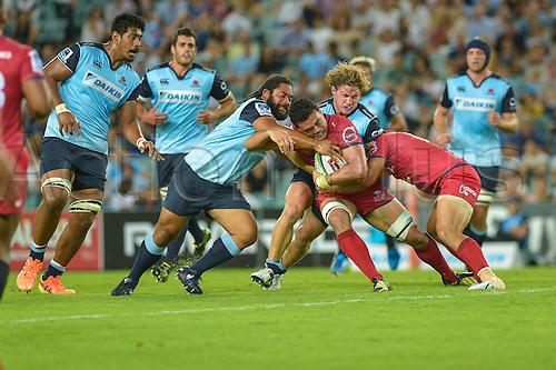 27.02.2016.  Sydney, Australia. Super Rugby. NSW Waratahs versus Queensland Reds. Strong defence from Waratahs hooker Tatafu Polota-Nau. The Waratahs won 30-10.