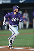 Garrett Crain (34) of the TCU Horned Frogs runs to first base during a game against the Loyola Marymount Lions at Page Stadium on March 16, 2015 in Los Angeles, California. TCU defeated Loyola, 6-2. (Larry Goren/Four Seam Images)