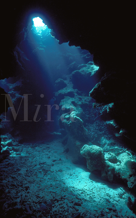 An underwater cave with sunlight streaming through the entrance. Grand Cayman.