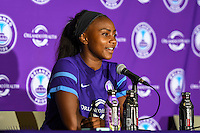 Orlando, FL - Thursday June 23, 2016: Jamia Fields during a regular season National Women's Soccer League (NWSL) match between the Orlando Pride and the Houston Dash at Camping World Stadium.